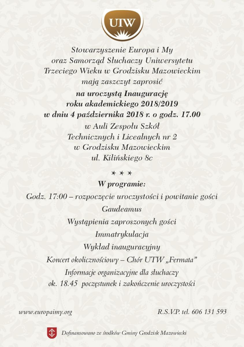 zaproszenie  inauguracja 2018